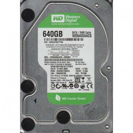 WD Caviar Green Power, 6400AACS, 640 GB, Serial ATA/300, 7200 RPM, 16MB cache