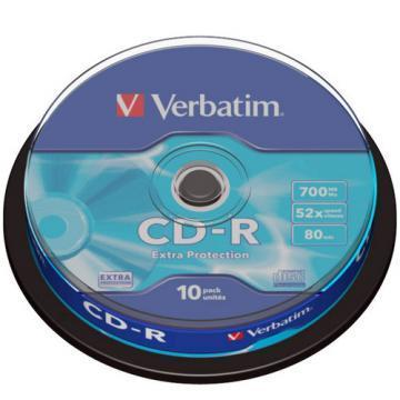 Verbatim CD-R Extra Protection 700MB 52x 10 Pack Cake