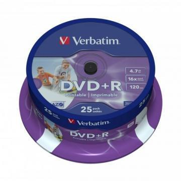 Verbatim DVD+R Matt Silver 4.7GB 16x 25 Pack Spindle