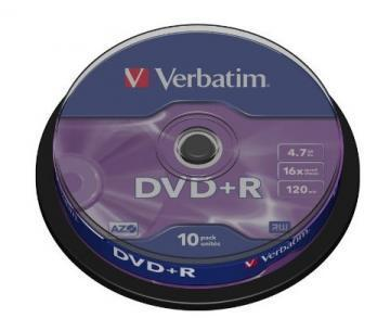 Verbatim DVD+R Matt Silver 4.7GB 16x 10 Pack Spindle