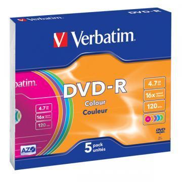 Verbatim DVD+R Colour 4.7GB 16x 5 pack Colour OPP