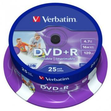Verbatim DVD+R Printable 4.7GB 16x 25 Pack Spindle