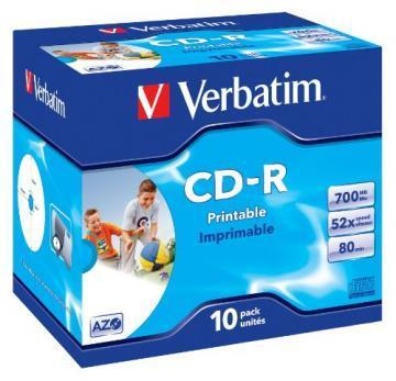 CD-R Verbatim DataLife+ AZO Jewel Case 10pcs 700MB 52x Printable