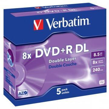 Verbatim DVD+R DL matte silver 8.5GB 8x jewel case 5-pack