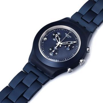 Swatch Irony Diaphane Smoky Blue chronograph