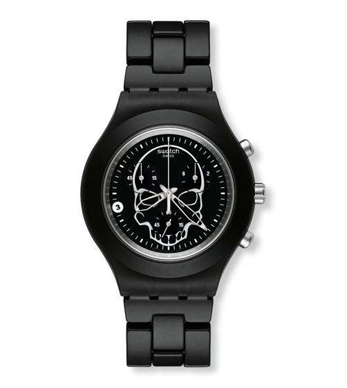 Swatch Irony Diaphane Black Skull chronograph