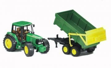 Bruder John Deere 6920 with tipping trailer toy