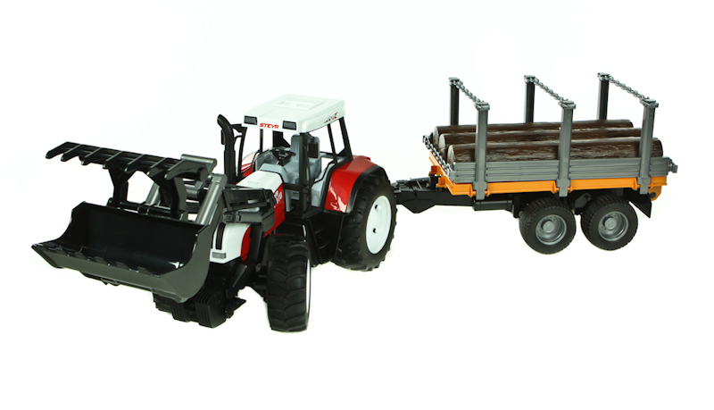 Bruder Steyr CFT 170 with timber trailer toy