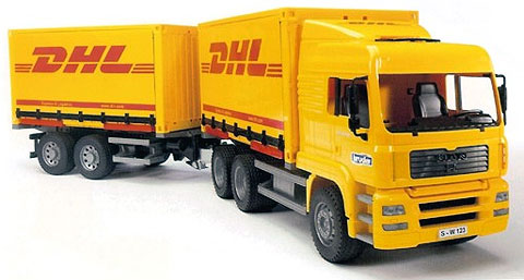Bruder MAN LKW truck DHL and trailer toy