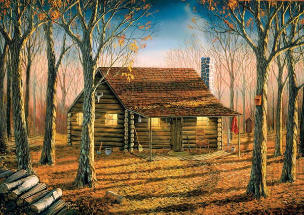 Buffalo Games Woodland Cabin 500 Pieces Audubon Puzzles