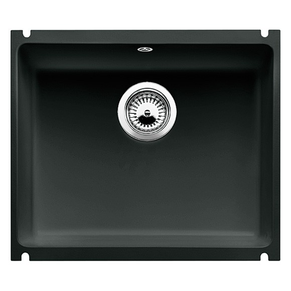 Blanco BLANCOSUBLINE 500-U, undermount sink, ceramic PuraPlus, black