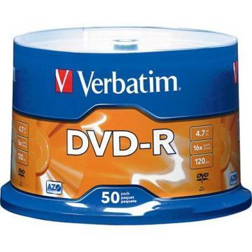 Verbatim 4.7GB 16X DVD-R 50 Pack-Spindle with Advanced AZO Recording Dye