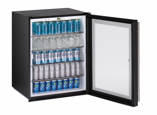 U-Line Glass Door Refrigerator ADA24RGL