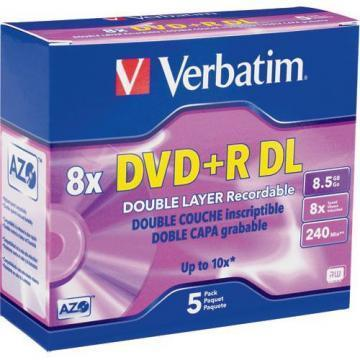 Verbatim DVD+R DataLife 8x 8.5GB Jewel Case 5-Pack