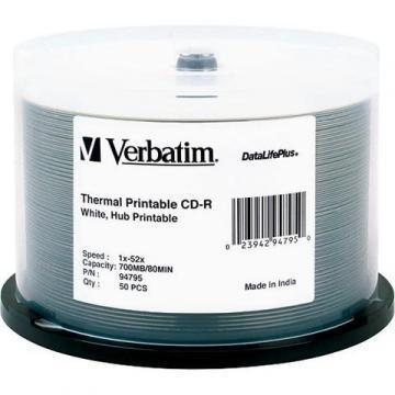 Verbatim CD-R 52X 700MB  Printable Spindle 50-Pack