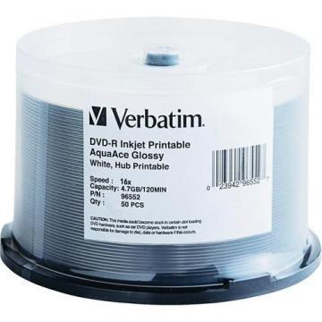 Verbatim 50-pack DVD-R 16X Aqua Ace Glossy Spindle