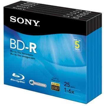 Sony Blu-Ray Discs 6x 25GB Recordable 5-Pack