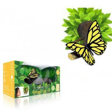 3DlightFX 3D Wall Mountable Yellow Butterfly Light with foliage crack sticker