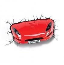 3DlightFX 3D Wall Mountable LED Red Sports Car Light With Sticker