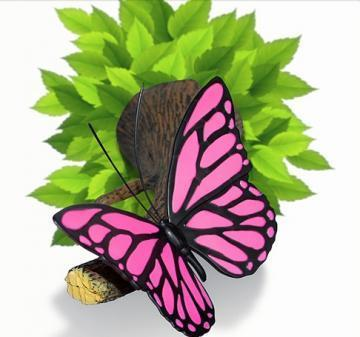 3DlightFX 3D Wall Mountable Pink Butterfly Light with foliage crack sticker