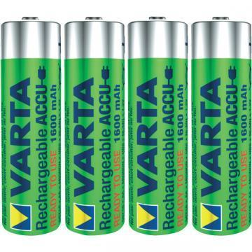 Varta Nickel Metal Hydride, 1600 mAh, 1.2 V, AA Rechargeable Battery