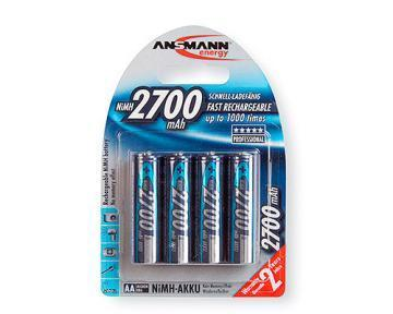 Ansmann Nickel Metal Hydride, 2700 mAh, 1.2 V, AA Rechargeable Battery