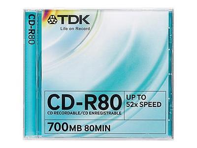 TDK CD-R, 700MB, 52X, 10-Pack, JC