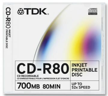 TDK CD-R,700MB,52X,10PK Slim Printable