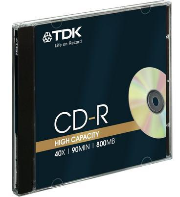 TDK CD-R, 90MIN, 800MB, 40x 10PK JC