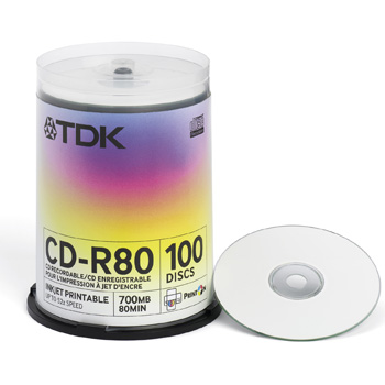 TDK CD-R, 80MIN, Printable 52x Cake x100