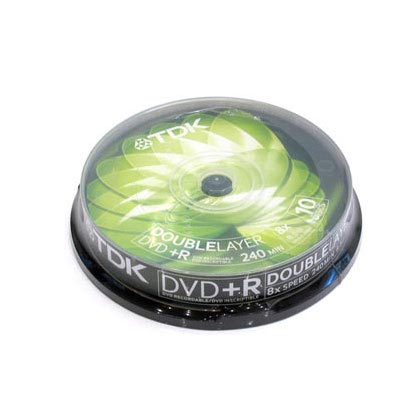 TDK DVD+R, 8X, Dual Layer, Spindle x10