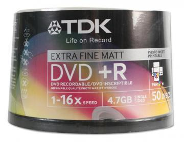 TDK DVD+R, Printable, 16X, Spindle x50