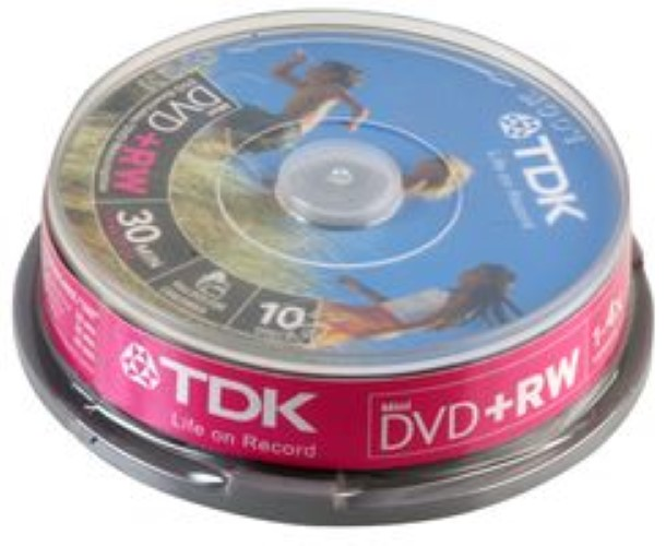 TDK 8cm DVD+RW Media Spindle Pack (10 Pack)