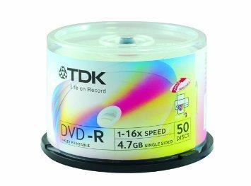 TDK DVD-R, Printable, 16X, Spindle x50