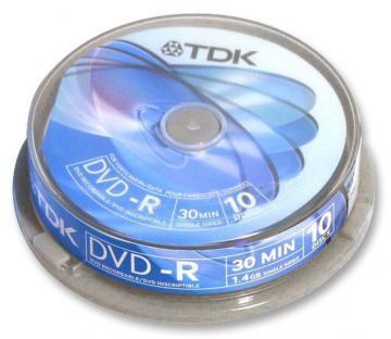TDK 8cm DVD-R Media Spindle Pack (10 Pack)