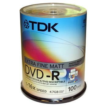 TDK DVD-R, Printable, 16X, Spindle x100