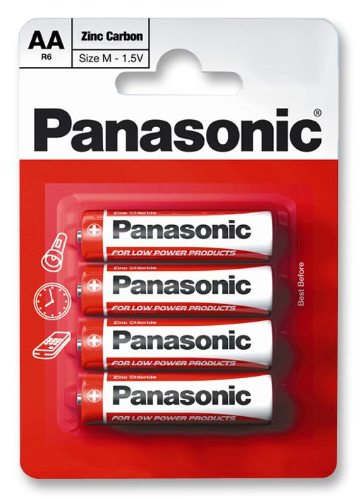 Panasonic Pack of 4, Zinc Carbon, 1.5 V, AA Batteries