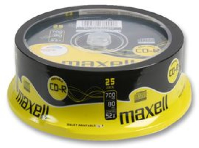 Maxell Printable CD-R Media Spindle Pack (25 Pack)