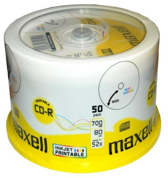 Maxell Printable CD-R Media Spindle Pack (50 Pack)