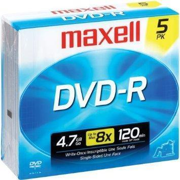 Maxell DVD+R 16x, Jewel Case 5-Pack