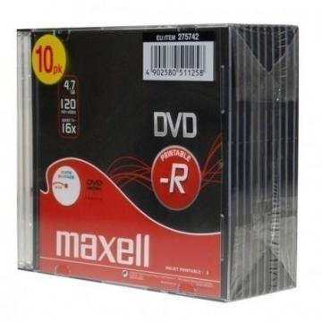 Maxell DVD-R Printable Jewel Case 10-Pack
