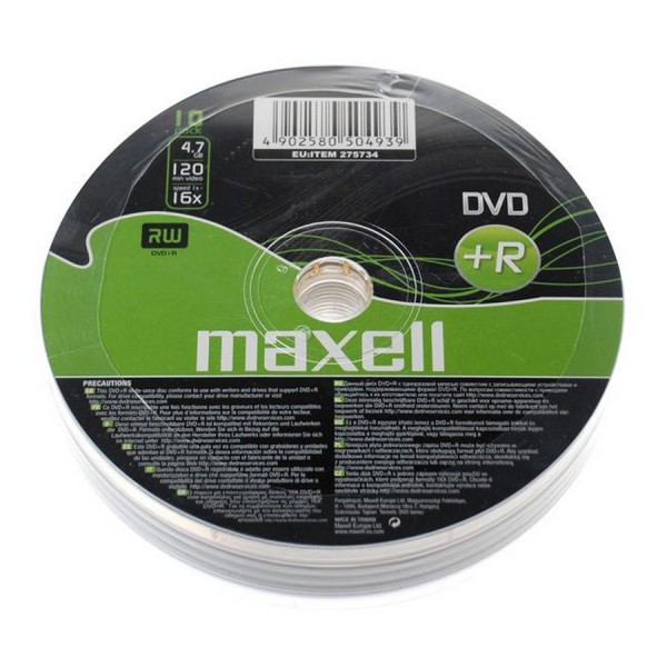 Maxell DVD+R, 4.7GB, 10PK Shrinkwrapped