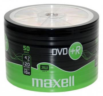 Maxell DVD+R, 4.7GB, 50PK Shrinkwrapped