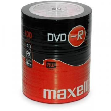 Maxell DVD-R, 4.7GB, 100PK Shrinkwrapped