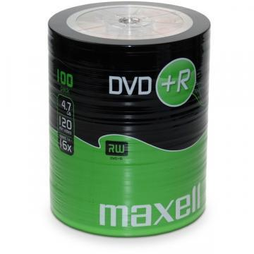Maxell DVD+R, 4.7GB, 100PK Shrinkwrapped