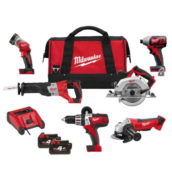 Milwaukee Tool M18, 2X4.0AH, 18V 6-Piece Drill Kit