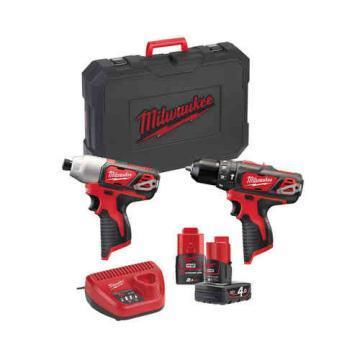 Milwaukee Tool 12V Li-Ion Combi Drill and Impact Driver Kit