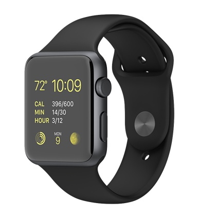Apple Watch 42mm Space Gray Aluminium / Black Sport Band