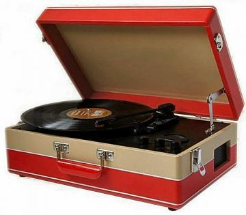 Steepletone Red Retro Style Portable Record Player