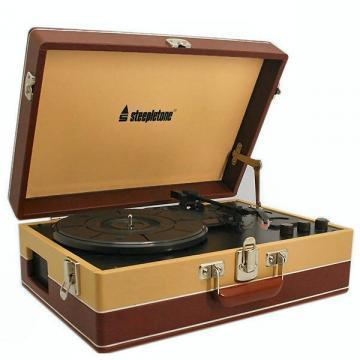 Steepletone Brown Retro Style Portable Record Player
